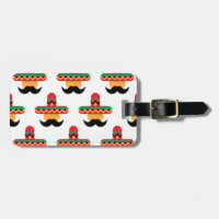 Mexcan moustache luggage tag