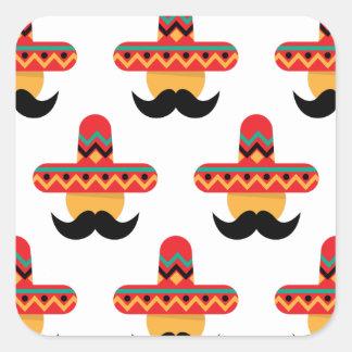 Mexcan moustache square sticker