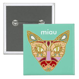 "Mexicalli Cat in Lavender - Customize text ""Miau"" 2 Inch Square Button"