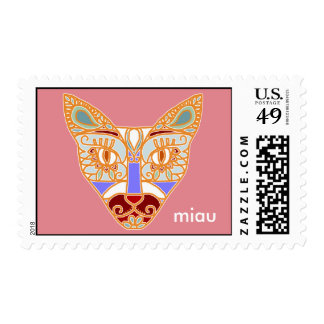 "Mexicalli Cat in Lavender - Customize text ""Miau"" Postage Stamps"