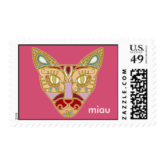 "Mexicalli Cat in Lavender - Customize text ""Miau"" Stamps"