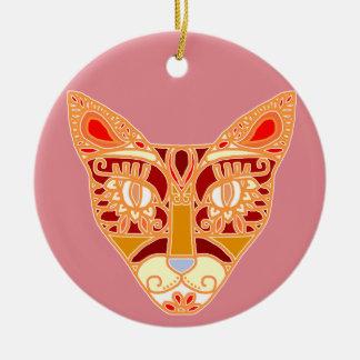 Mexicalli Cat in Orange Ceramic Ornament