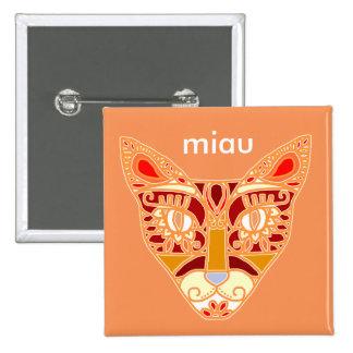 "Mexicalli Cat in Orange - Customize text ""Miau"" 2 Inch Square Button"