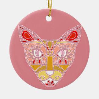 Mexicalli Cat in Pink Ceramic Ornament