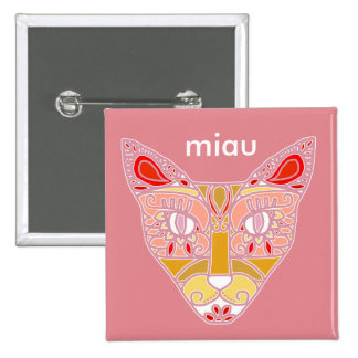 """Mexicalli Cat in Pink - Customize text """"Miau"""" 2 Inch Square Button"""
