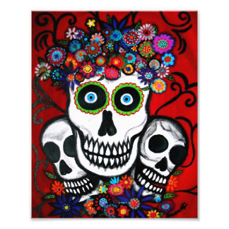 Mexican 3 Skulls Day of the Dead Painting Photo Print