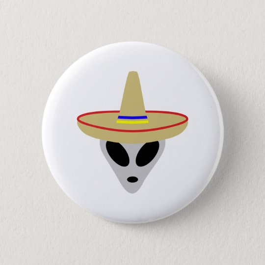 mexican alien sombrero button