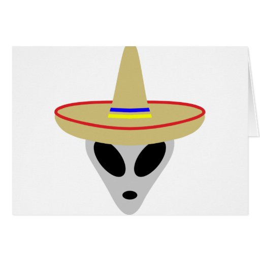 mexican alien sombrero greeting card