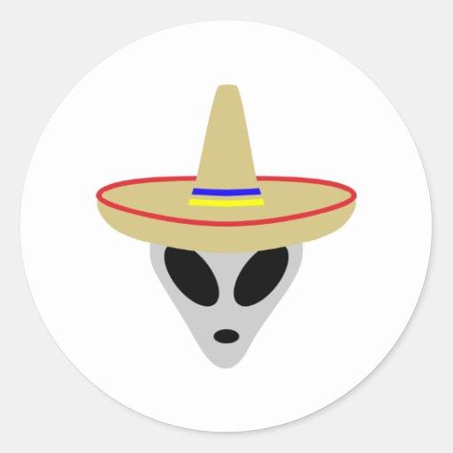 mexican alien sombrero round stickers