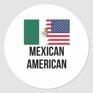 Mexican American Flag Classic Round Sticker