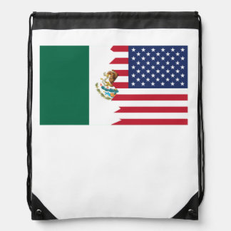 Mexican American Flag Drawstring Backpack