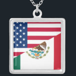 """Mexican American Flag Necklace<br><div class=""""desc"""">Mexican American Flag Necklace</div>"""