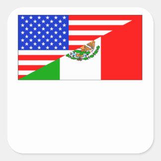 Mexican American Flag Square Sticker