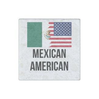 Mexican American Flag Stone Magnet