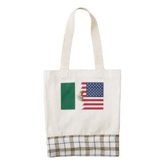 Mexican American Flag Zazzle HEART Tote Bag