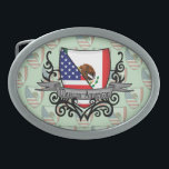 """Mexican-American Shield Flag Belt Buckle<br><div class=""""desc"""">Represent Mexico! This item features a coat of arms with the Mexican flag and American flag on a heraldic shield that looks like a family crest and a tribal tattoo design. Do you know someone Mexican or a Mexican-American who misses their home country and would like to be patriotic about...</div>"""
