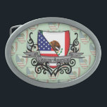 "Mexican-American Shield Flag Belt Buckle<br><div class=""desc"">Represent Mexico! This item features a coat of arms with the Mexican flag and American flag on a heraldic shield that looks like a family crest and a tribal tattoo design. Do you know someone Mexican or a Mexican-American who misses their home country and would like to be patriotic about...</div>"