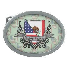 Mexican-American Shield Flag Belt Buckle