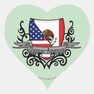Mexican-American Shield Flag Heart Sticker