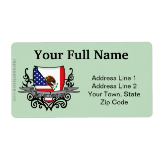Mexican-American Shield Flag Shipping Labels