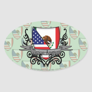 Mexican-American Shield Flag Oval Sticker