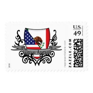 Mexican-American Shield Flag Postage Stamp