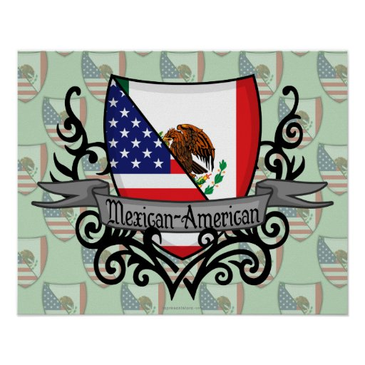 Mexican-American Shield Flag Posters