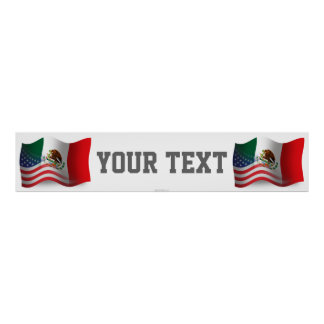 Mexican-American Waving Flag Banner Poster