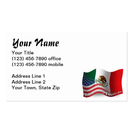 Mexican american waving flag business card zazzle for American flag business cards