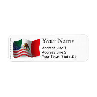 Mexican-American Waving Flag Label