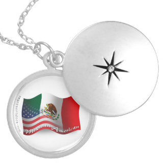 Mexican-American Waving Flag Round Locket Necklace