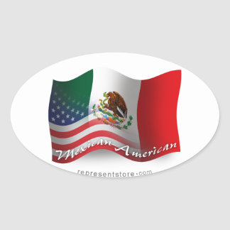 Mexican-American Waving Flag Oval Sticker
