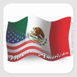 Mexican-American Waving Flag Square Sticker