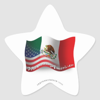Mexican-American Waving Flag Star Sticker