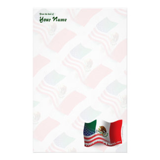 Mexican-American Waving Flag Custom Stationery