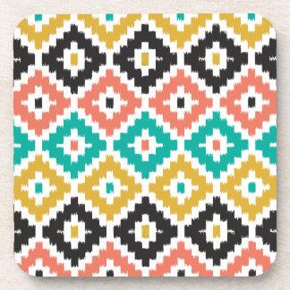 Mexican Aztec Tribal Print Ikat Diamond Pattern Beverage Coaster