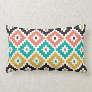 Mexican Aztec Tribal Print Ikat Diamond Pattern Lumbar Pillow