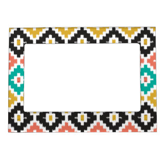 Mexican Aztec Tribal Print Ikat Diamond Pattern Magnetic Picture Frames