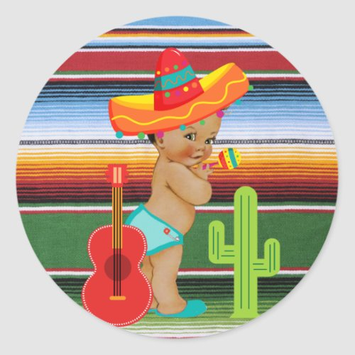 Mexican Baby Shower Sticker with Vintage Baby