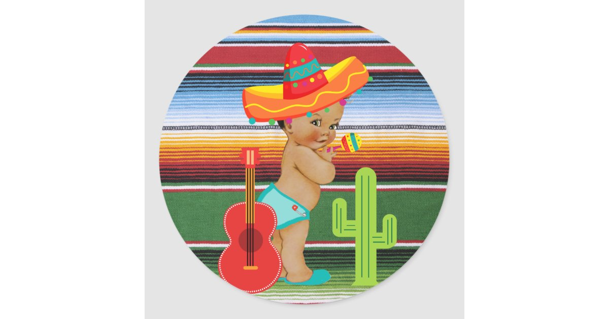 Mexican Baby Shower Sticker With Vintage Baby Zazzle Com