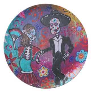 Mexican Bailar Mariachi Dancing Couple by prisarts Melamine Plate