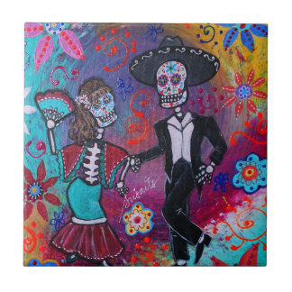 Mexican Bailar Mariachi Dancing Couple by prisarts Tiles
