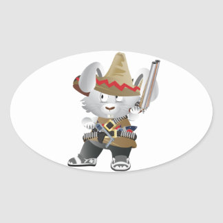 Mexican Bandit Bunny Oval Sticker