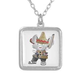 Mexican Bandit Bunny Square Pendant Necklace
