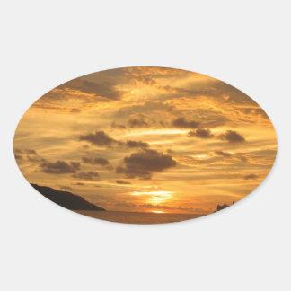 Mexican Beach Sunset Oval Sticker