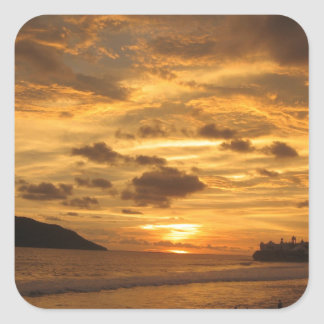 Mexican Beach Sunset Square Sticker