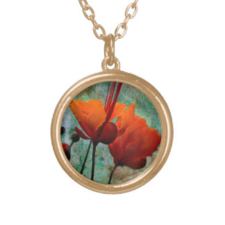MEXICAN BIRD OF PARADISE ROUND PENDANT NECKLACE