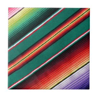 Mexican Blanket Colorful Stripe Southwestern Ceramic Tile