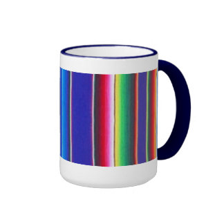 Mexican blanket mug indigo blue