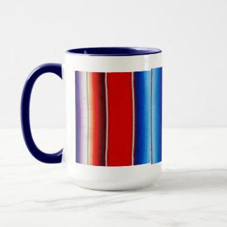 Mexican blanket mug red, white & blue
